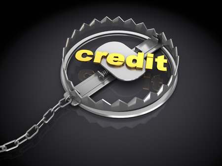 3d illustration of credit trap metaphor, over dark background illustration