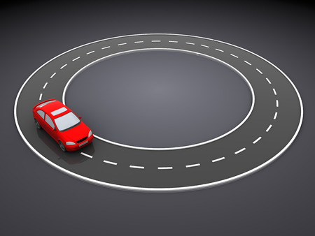 driveway: 3d illustration of red car and endless road, over dark background