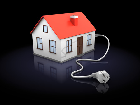 3d illustration of house with power cord, over black background illustration