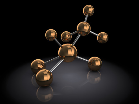 chemic: abstract 3d illustration of atom model, over black background