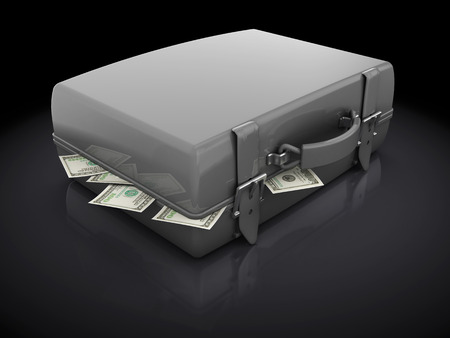 3d illustration of suitcase full of money, over black background illustration