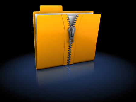3d illustration of zipped folder over black background illustration