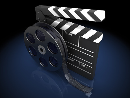 film director: 3d illustration of cinema clap and film reel, over black background Stock Photo