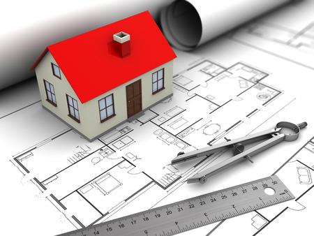 model houses: 3d illustration of house model and blueprints