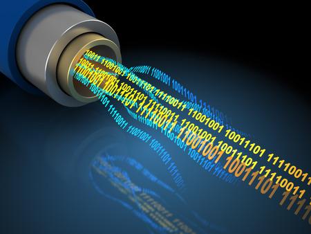 3d illustratie van draad of optische vezel met binaire data stroom