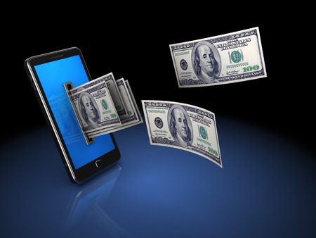 coming out: 3d illustration of mobile phone with money, over black background