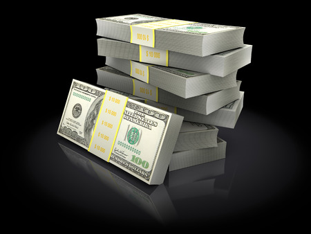 achivement: 3d illustration of money stack over black background Stock Photo