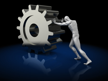 big wheel: abstract 3d illustration of man pushing gearwheel, over dark background