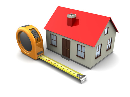 3d illustration of tape meter and house model, over white background illustration