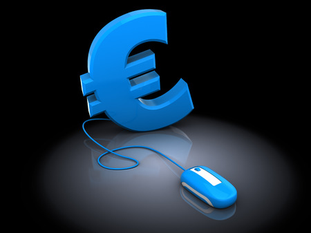 online trading: 3d illustration of euro sign and computer mouse, over black background