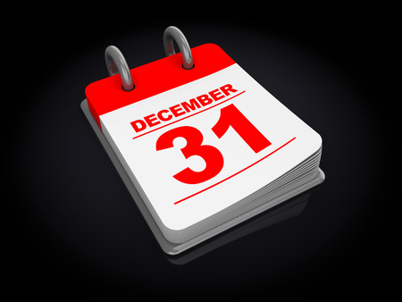 31: 3d illustration of calendar over black background