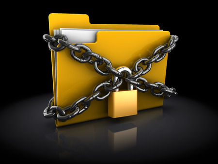 encryption icon: 3d illustration of files folder with lock and chain, over black background Stock Photo