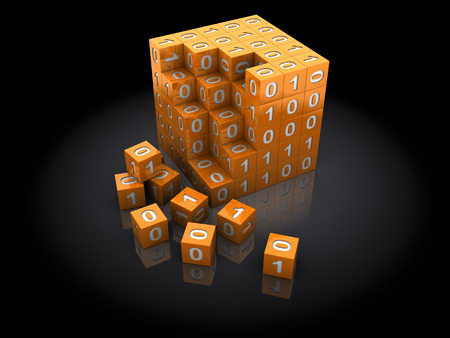 abstract 3d illustration of cube puzzle with binary code illustration
