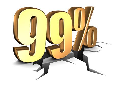 99: 3d illustration of 99 percent sign over white background