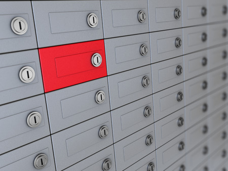 3d illustration of deposit boxes with one red illustration