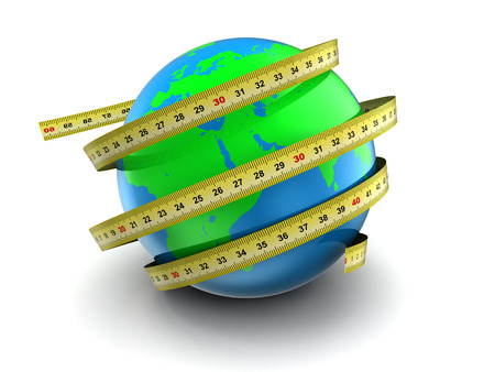 diameter: 3d illustration of earth globe with ribbon meter, over white Stock Photo