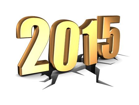 3d illustration of fallen sign 2015 new year, over white illustration