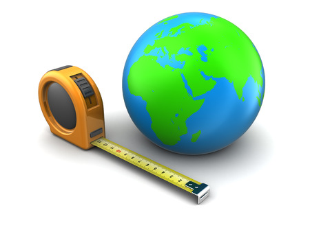 3d illustration of tape meter and earth globe, over white background illustration