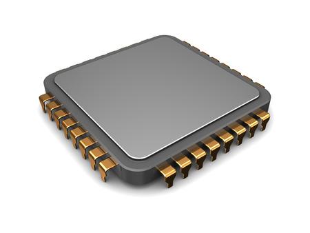 3d illustratie van enkele microchip over witte achtergrond Stockfoto