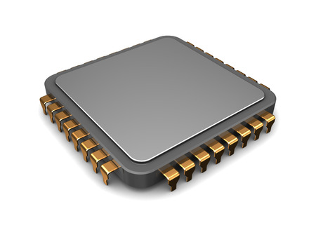 3d illustration of single microchip over white background