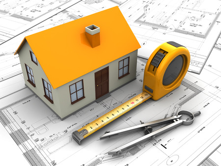 3d illustration of house model and blueprints illustration