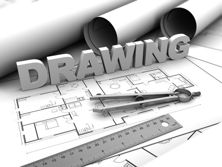 3d illustration of drawing text and compass, over blueprints illustration