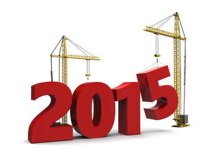 abstract 3d illustration of 2015 year sign built by cranes