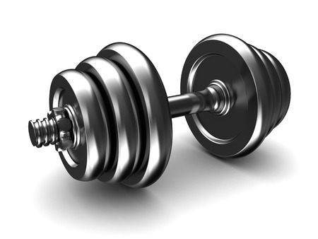 kilos: 3d illustration of dumbell chrome metall, over white