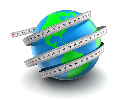 3d illustration of earth globe with meter ribbons over white background illustration