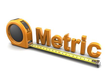 metro de medir: 3d ilustración de metros de cinta métrica y de texto, sobre fondo blanco
