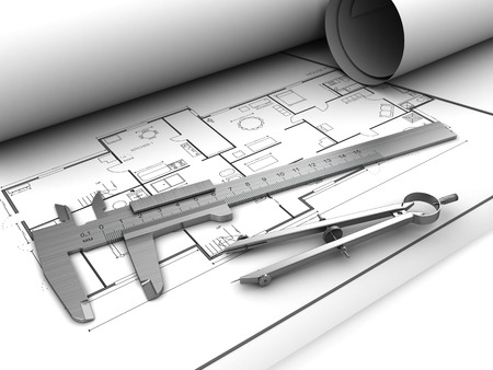 remount: 3d illustration of blueprints and drawing tools