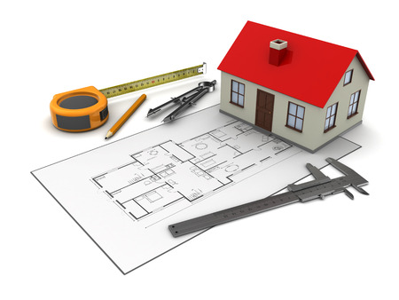 remount: 3d illustration of house blueprints and model, over white background Stock Photo