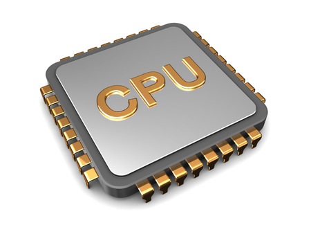 computer memory: 3d illustration of cpu chip over white background Stock Photo