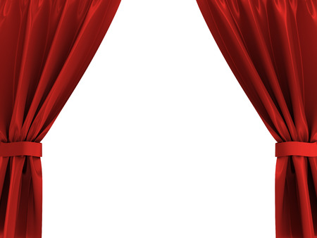 stage projector: 3d illustration of red curtains frame isolated over white