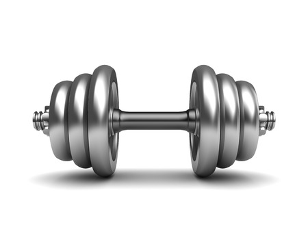kilos: 3d illustration of dumbell over white background