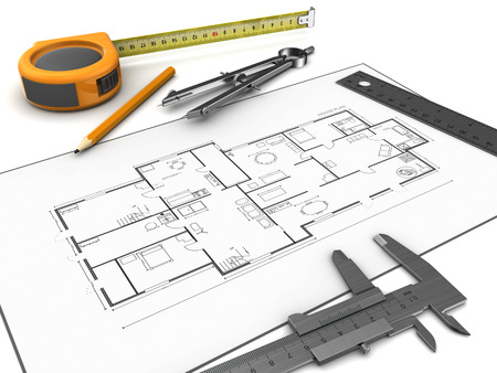 remount: 3d illustration of houe blueprints and drawing tools