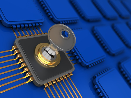 bit background: 3d illustration of encoded chip and many others in blue colors