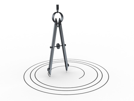 3d illustration of circle drawing, over white background