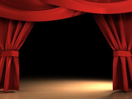 sipario chiuso: Illustrazione 3D di tende rosse aperto over scena scura