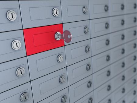 3D-afbeelding van kluisjes met één geselecteerd