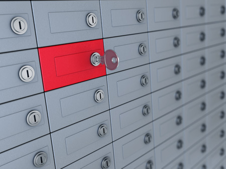 3d illustration of deposit boxes with one selected Foto de archivo