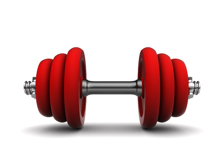 kilos: 3d illustration of red dumbell over white background Stock Photo