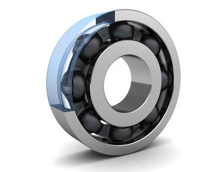 3d illustration of ball bearing with glass wall