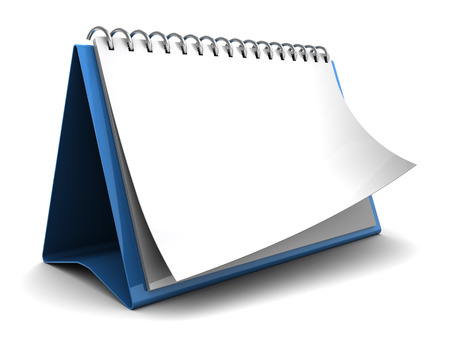annual events: 3d illustration of folding calendar with blank pages, over white background Stock Photo