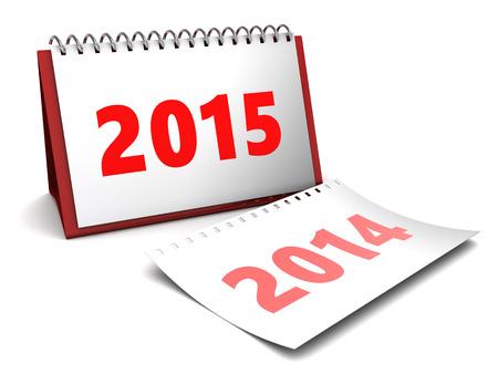 3d illustration of 2015 year calendar over white background illustration