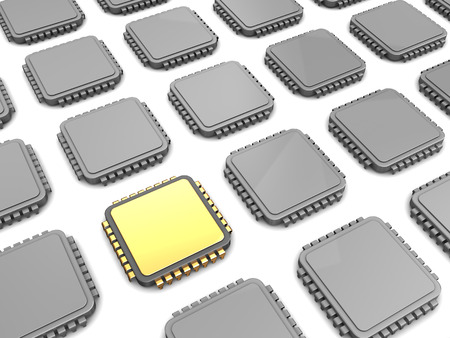 chip and pin: 3d illustration of gloden chip and many others Stock Photo