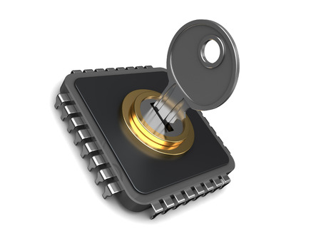 chip and pin: 3d illustration of protected or encoded chip with key