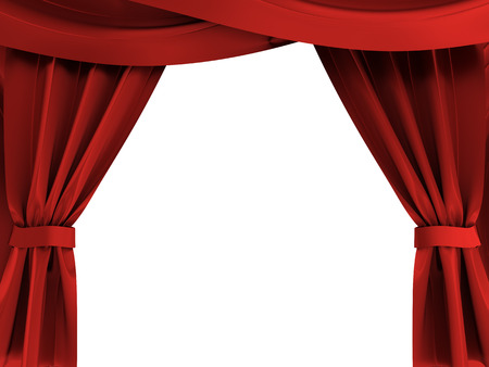 3d illustration of red curtains opened over white background illustration