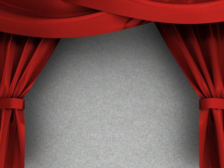 sipario chiuso: 3d illustrazione di tende rosse su struttura in cemento