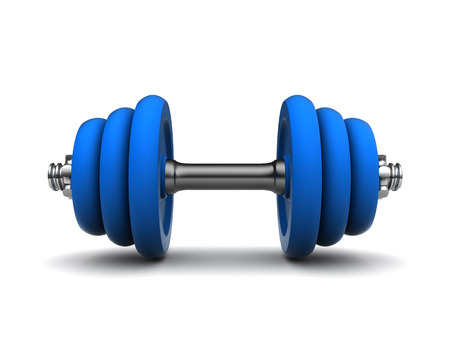 kilos: 3d illustration of blue dumbell over white